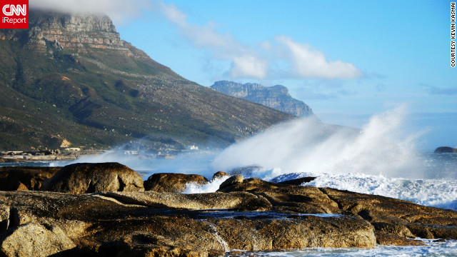"Kevin Kasmai captured this shot while traveling south from Cape Town toward the Cape of Good Hope. ""The images of the clouds rushing down Table Mountain on a windy day in Cape Town and the views overlooking the Cape of Good Hope towards the southern ocean were unlike any I had seen before,"" he says."