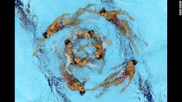 Egypt competes in the women's team synchronized swimming free routine final.
