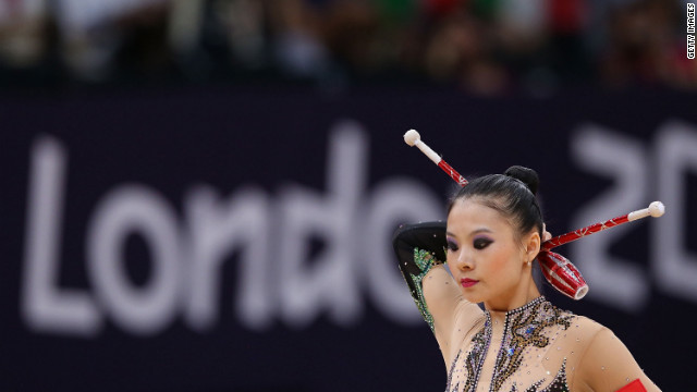 Chinese gymnast Senyue Deng performs during the rhythmic gymnastics individual all-around competition.