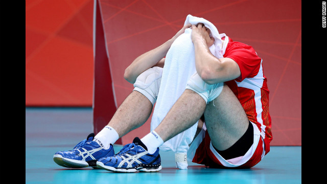 No. 7 Todor Skrimov of Bulgaria reacts after losing to Russia in the men's volleyball semifinals.