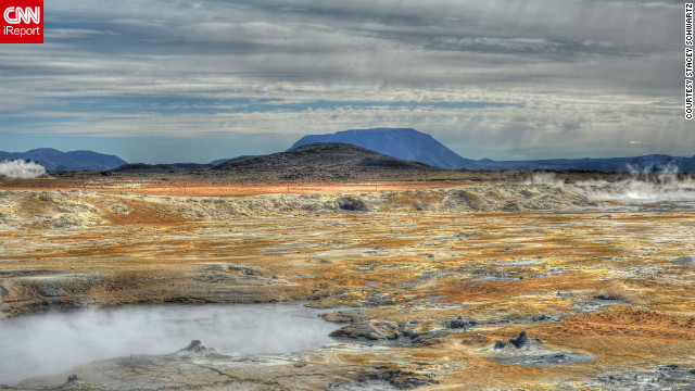 """Just returned from Iceland where the terrain can be lush and green with hundreds of waterfalls or barren and desolate with steam and smoke coming out of the ground,"" writes Stacey Schwartz. ""It made me think I had landed on Mars."""