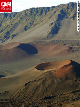 Kristi DeCourcy says the colors in the cinder cones of the Haleakala volcano remind her of images from Mars. She stood on the Kalahaku Overlook at Haleakala National Park in Maui to capture this image.