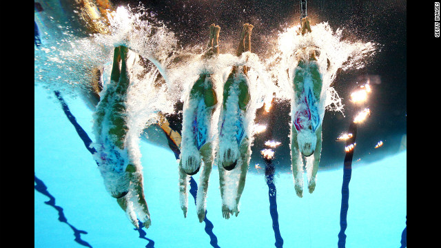 China competes in the women's team synchronized swimming free routine final.