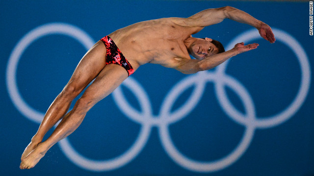 Belarus' Timofei Hordeichik competes in the men's 10-meter platform preliminary round during the diving event.