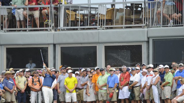 Phil Mickelson fans for onlookers.