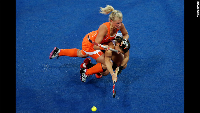 The Netherlands' Sophie Polkamp, top, is angling for a tryout in the NHL.