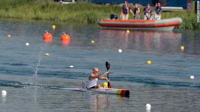 Germany's Ronald Rauhe competes in the kayak single 200-meter men's heats.