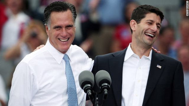 Republican presidential candidate Mitt Romney, left, jokes with Wisconsin Rep. Paul Ryan Saturday, August 11, after announcing him as his running mate at a campaign event on the USS Wisconsin in Norfolk, Virginia.