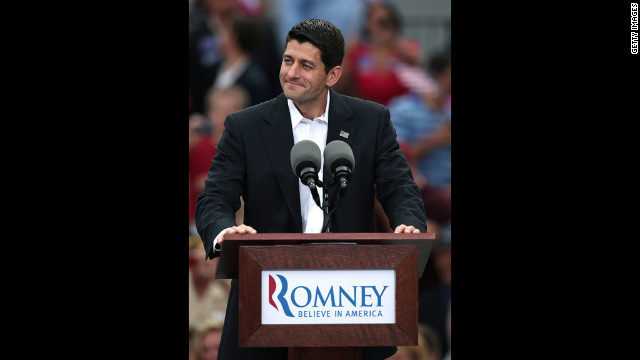 Ryan addresses a crowd of supporters in Norfolk, Virginia.