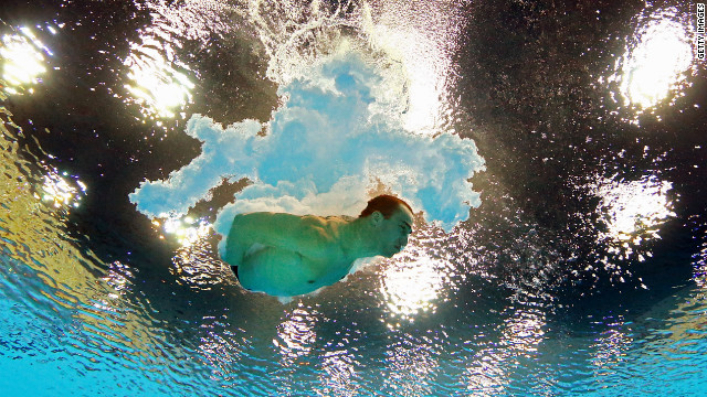 Canada's Riley McCormick competes in the men's platform diving semifinal.