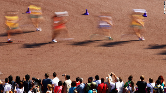 Walkers compete during the men's 50-kilometer walk.