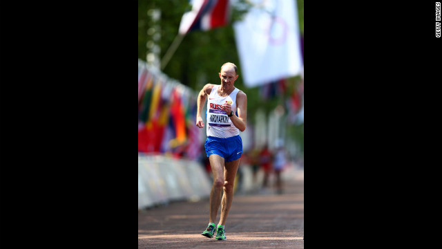 Russia's Sergey Kirdyapkin competes during the men's 50-kilometer walk.