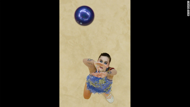 Belarus' Liubou Charkashyna performs her ball program during the individual all-around final of the rhythmic gymnastics event.