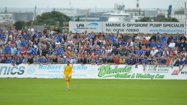 Rangers fans pack into Balmoor, the home of fourth-tier Scottish club Peterhead.