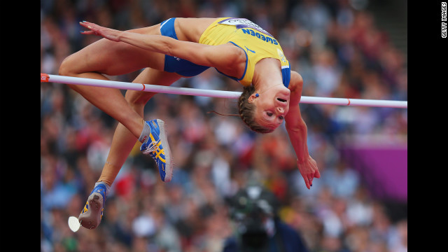 Emma Green Tregaro of Sweden competes during the women's high jump final.