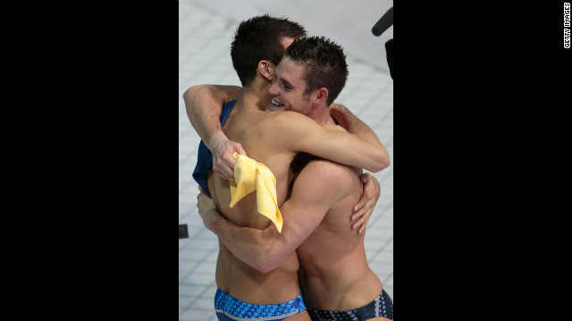 David Boudia celebrates winning the men's 10-meter platform diving final with teammate Nicholas McCrory, who finished ninth.