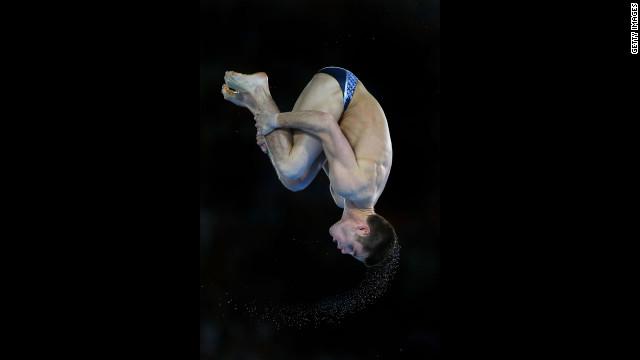 David Boudia performs in the men's 10-meter platform diving final.