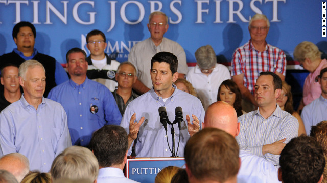 Ryan speaks while campaigning for Romney at a textile factory in Janesville, Wisconsin, on June 18.