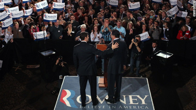 Ryan, left, and Romney greet each other on stage April 3 during the primary night gathering at The Grain Exchange in Milwaukee.