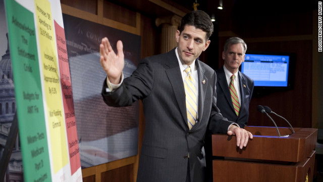 Ryan, left, and Sen. Judd Gregg of New Hampshire speak to reporters about the 2010 federal budget.