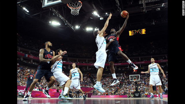 LeBron James, No. 6 of the United States, goes up for a shot against Luis Scola, No. 4 of Argentina, during the men's basketball semifinal match on August 10. The games ran through August 12 -- &lt;a href='http://www.cnn.com/2012/08/09/worldsport/gallery/olympics-day-thirteen/index.html'&gt;check out the best moments from Day 13 of competition&lt;/a&gt; on Thursday.