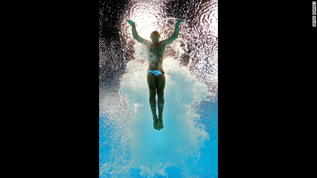 Thomas Daley of Great Britain competes in the men's 10-meter platform diving semifinals.