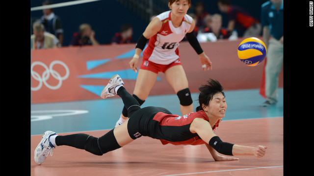 Japan's Risa Shinnabe dives to reach the ball during the women's volleyball bronze medal match. Check out photos from the<a href='http://www.cnn.com/2012/08/12/worldsport/gallery/olympics-day-sixteen/index.html' target='_blank'> last day of the Games </a>on Sunday, August 12.