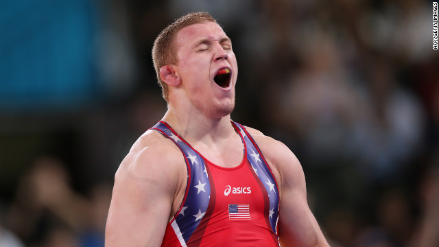 U.S. wrestler Jacob Varner celebrates after defeating Ukraine's Valerii Andriitsev in the men's 96-kilogram freestyle gold medal wrestling match in London.