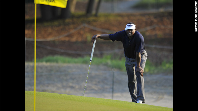 Vijay Singh, who started the day near the top of the leaderboard, ponders his options before making a putt on the back nine on Sunday.