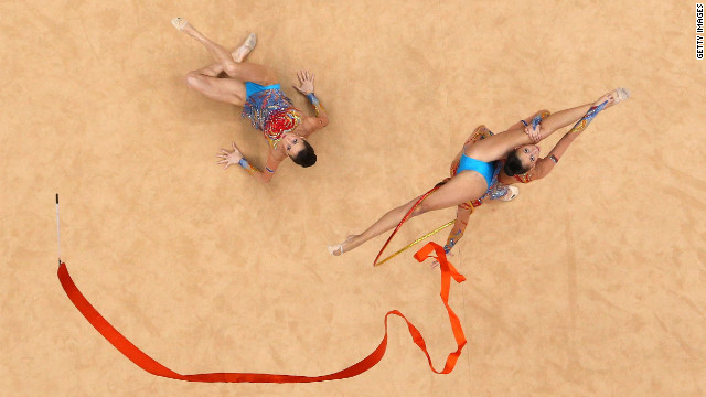 The Bulgarian team performs during the group all-around rhythmic gymnastics final.