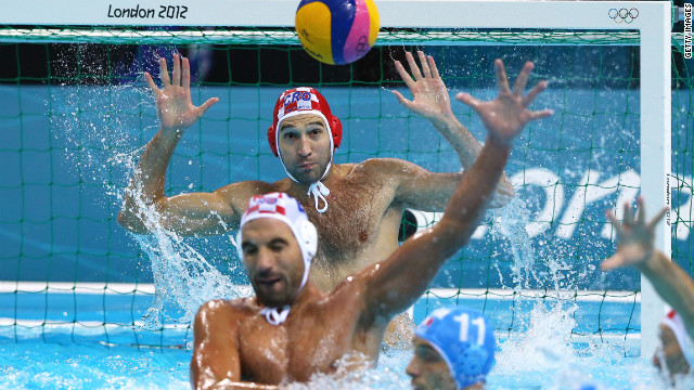 Goalkeeper Josip Pavic of Croatia makes a save during the men's water polo gold medal match between Croatia and Italy.
