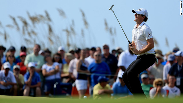 Rory McIlroy of Northern Ireland reacts after a putt at the 18th hole.