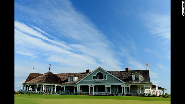The Ocean Course's Shingle-style clubhouse overlooks the 18th green. The course previously hosted the 1991 Ryder Cup.