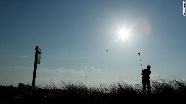 Tim Clark of South Africa hits off the15th tee.