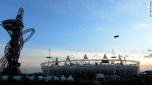 The sun sets over the Olympic Stadium few minutes before the start of the closing ceremony of the 2012 London Olympic Games.