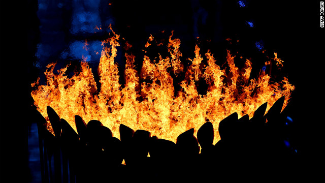 The Olympic Cauldron burns during the closing ceremony. Look back at photos from the &lt;a href='http://www.cnn.com/2012/07/27/worldsport/gallery/olympic-opening-ceremony/index.html' target='_blank'&gt;opening ceremony.&lt;/a&gt;