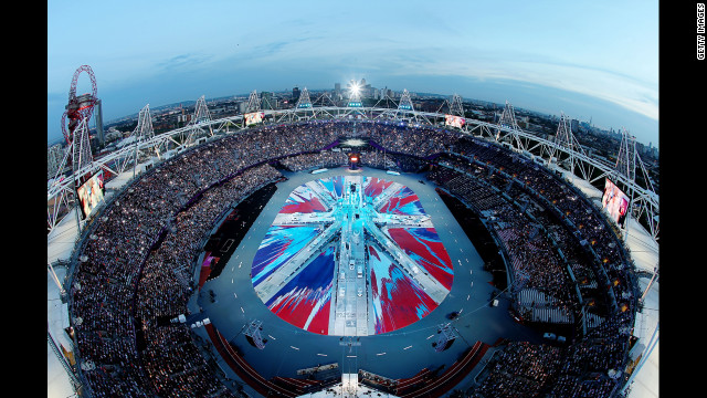 A view looking down into London's Olympic stadium shows a rendition of the Union Jack on the stadium floor as the closing ceremony gets under way.