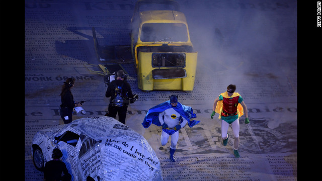 Actors dressed as Batman and Robin perform a segment from an episode of the British television comedy, &quot;Only Fools and Horses.&quot;