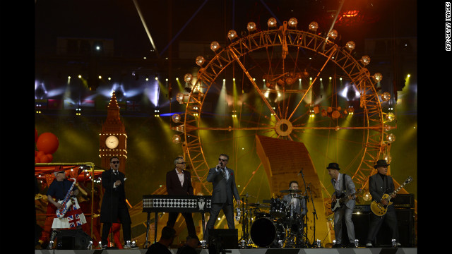"Madness perform their 1982 hit ""Our House"" during the closing ceremony."