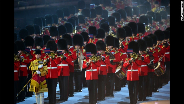 "The Household Division Ceremonial State Band perform the song ""Parklife,"" originally done by the British rock band Blur."