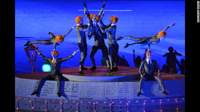 Acrobats perform during the closing ceremony.