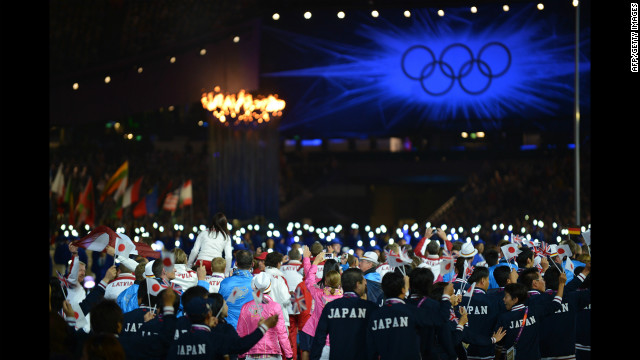 Athletes from the 30th Olympics enter Olympic stadium in London.