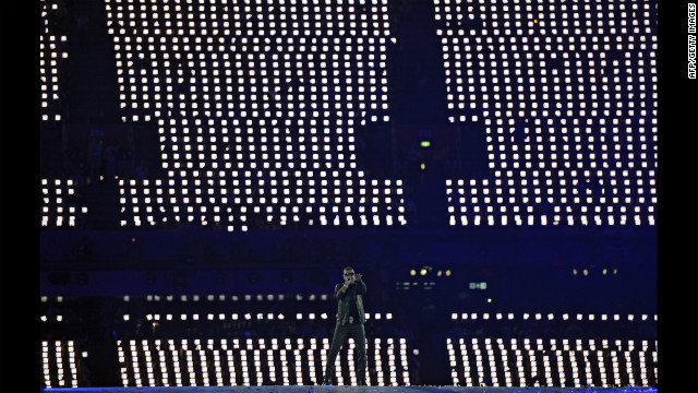 British artist George Michael performs at the Olympic stadium.