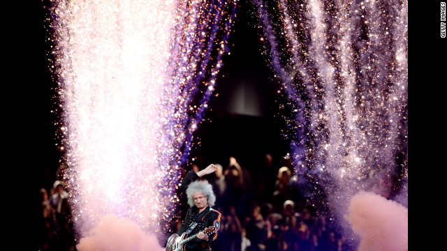 Brian May of Queen performs during the closing ceremony.