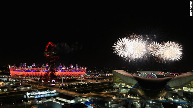 Fireworks light up the Olympic stadium during the closing ceremony of the London 2012 Olympics on Sunday, August 12. Check out photos from the &lt;a href='http://www.cnn.com/2012/07/27/worldsport/gallery/olympic-opening-ceremony/index.html' target='_blank'&gt;opening ceremony.&lt;/a&gt;