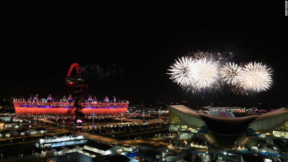 Fireworks light up the Olympic stadium during the closing ceremony of the London 2012 Olympics on Sunday, August 12. Check out photos from the <a href='http://www.cnn.com/2012/07/27/worldsport/gallery/olympic-opening-ceremony/index.html' target='_blank'>opening ceremony.</a>