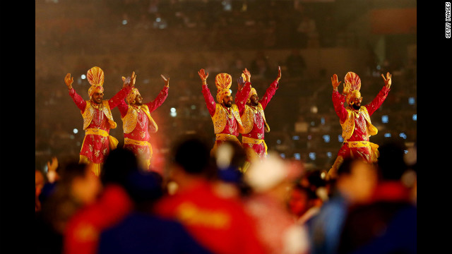 Artists perform during the closing ceremony.