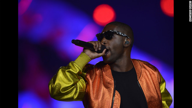 British rap singer Tinie Tempah performs at the Olympic stadium.
