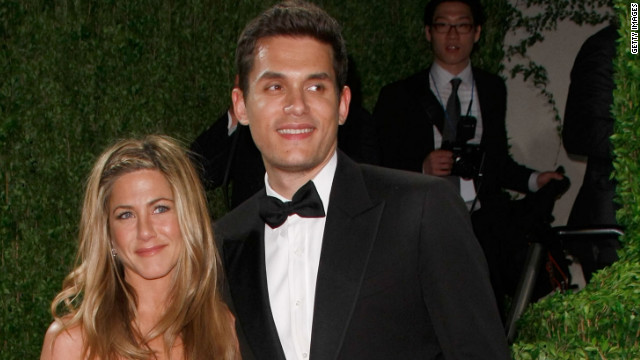"John Mayer and Aniston, pictured here in 2009, dated on and off for about a year. Though his <a href='http://marquee.blogs.cnn.com/2012/05/22/john-mayer-says-his-shadow-days-are-over/' target='_blank'>""Shadow Days"" are over</a> now, in 2010 Mayer opened up to <a href='http://www.rollingstone.com/music/news/john-mayers-dirty-mind-lonely-heart-new-issue-of-rolling-stone-20100119' target='_blank'>Rolling Stone</a> about his split with Aniston, saying, ""I've never really gotten over it. It was one of the worst times of my life."""