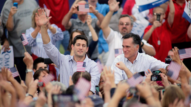 Romney and Ryan, a Wisconsin native, greet supporters during a campaign stop in Waukesha, Wisconsin, on Sunday, August 12.
